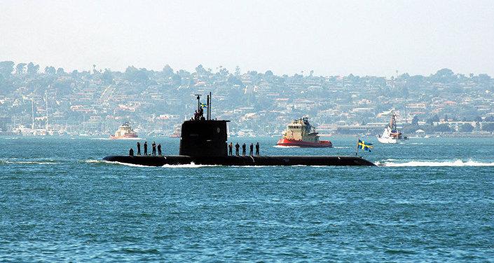 The Swedish diesel-powered attack submarine HMS Gotland