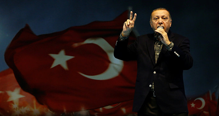 Turkish President Tayyip Erdogan makes a speech
