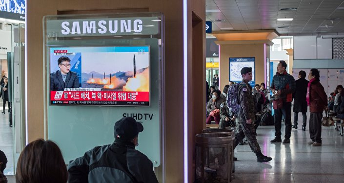 A television screen shows news coverage of a North Korean rocket launch at Seoul station on March 7, 2017