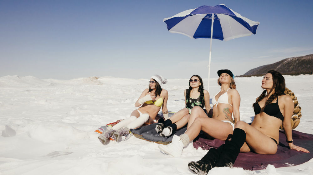 Meanwhile in Russia: Bikini Party at Frozen Lake Baikal