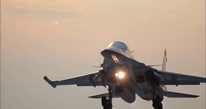 Russia's Sukhoi Su-34 Fullback tactical bomber returns to the Hamadan air base after the air strikes on Daesh sites in Syria. (File)