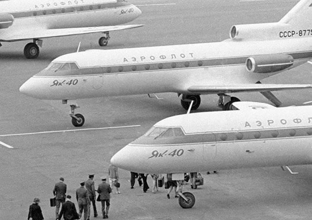 Yak-40 aircraft at Osh airport,  11.05.1974