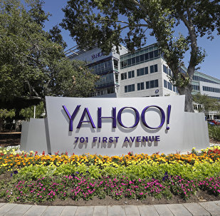 Yahoo sign at the company's headquarters in Sunnyvale, Calif. (File)