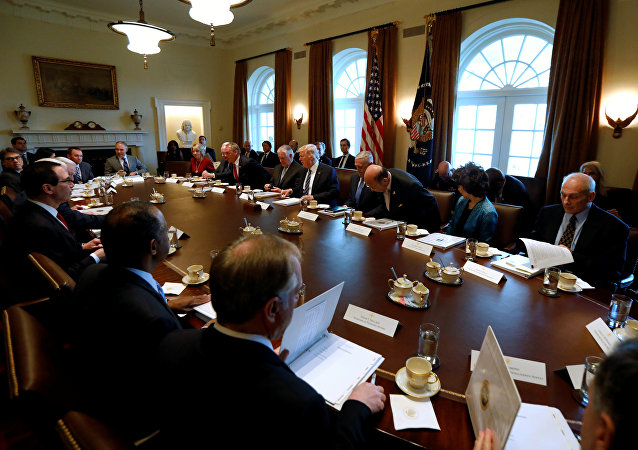US President Donald Trump (5th R) holds a meeting with his cabinet at the White House in Washington, U.S. March 13, 2017