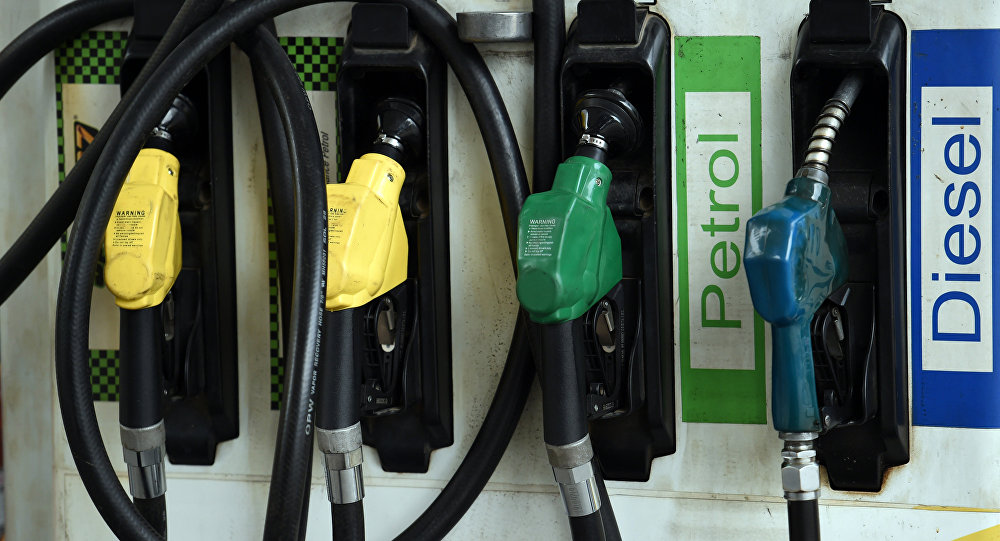 Fuel pumps are pictured at a service station in New Delhi on September 29, 2016