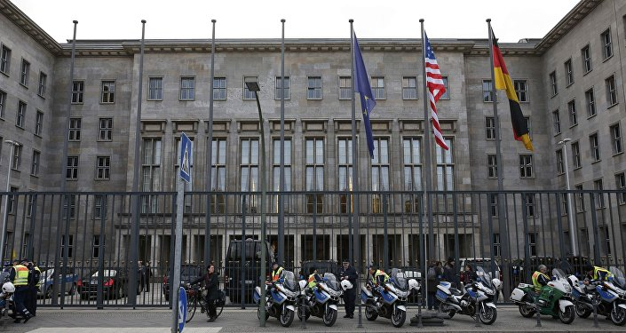 Police waits outside the Finance Ministry for the arrival of U.S. Treasury Secretary Steve Mnuchin before meeting with German Finance Minister Wolfgang Schaeuble in Berlin, Germany, March 16, 2017
