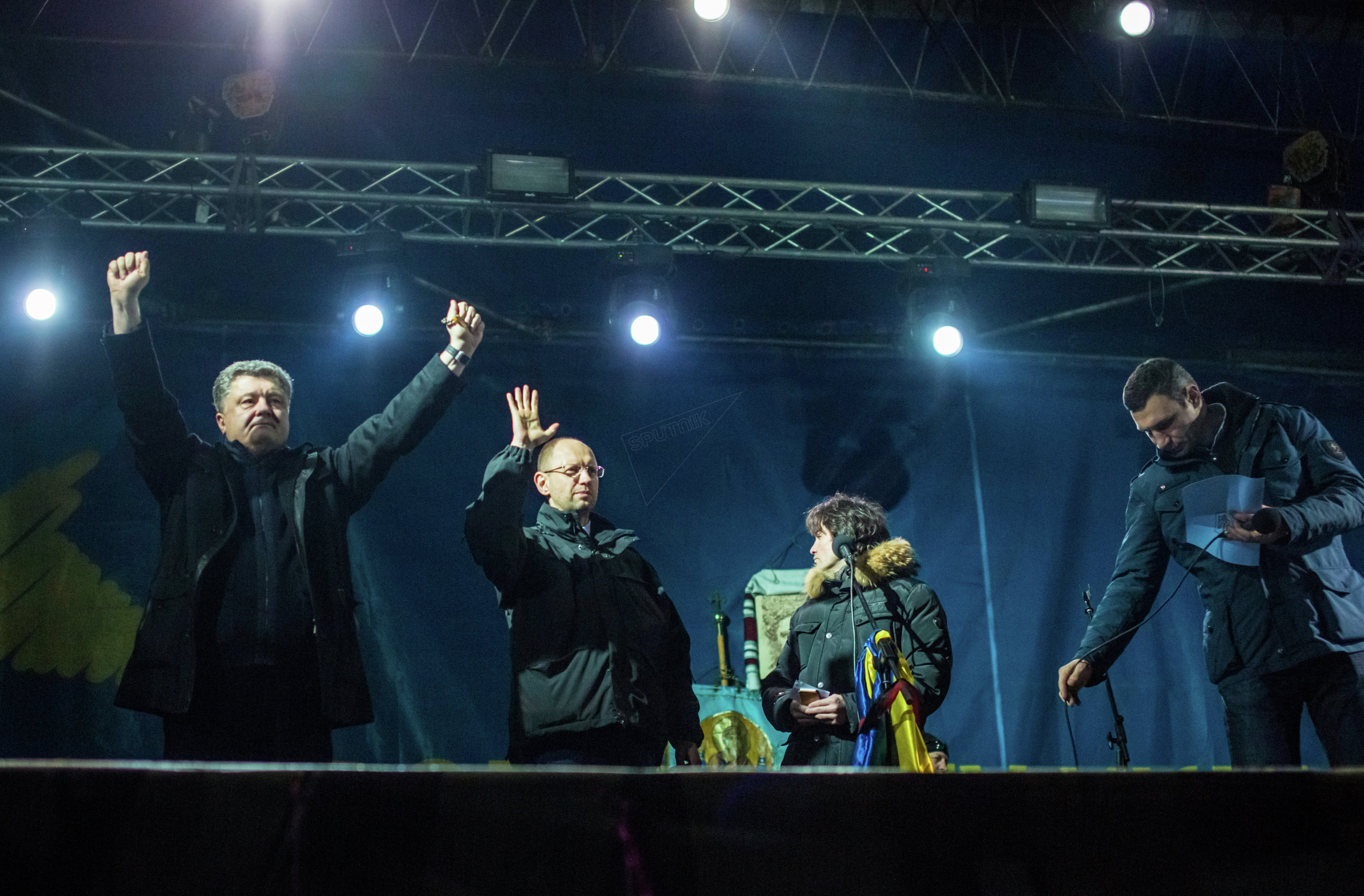 From left: Petro Poroshenko, a Ukrainian businessman and Roshen group owner, Arseniy Yatsenyuk, All-Ukrainian Union Fatherland leader; Vitali Klitschko, leader of the Ukrainian Democratic Alliance for Reform of Vitali Klitschko, during a rally in Independece Square, February 2014