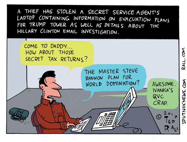 Secret Service Laptop Cartoon