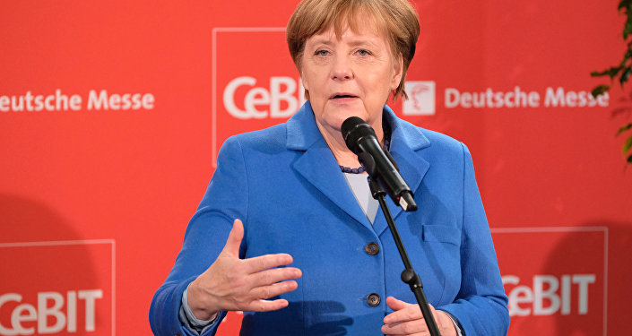 German Chancellor Angela Merkel speaks after her tour at the CeBIT computer and tech fair in Hannover, Germany, 15 March 2016