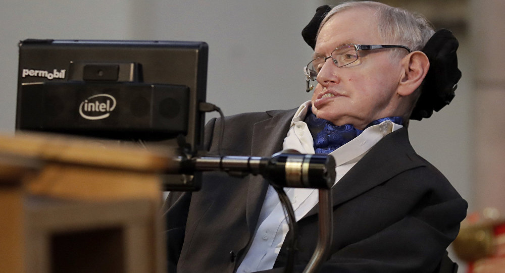 Britain's Professor Stephen Hawking delivers a keynote speech as he receives the Honorary Freedom of the City of London during a ceremony at the Guildhall in the City of London, Monday, March 6, 2017.