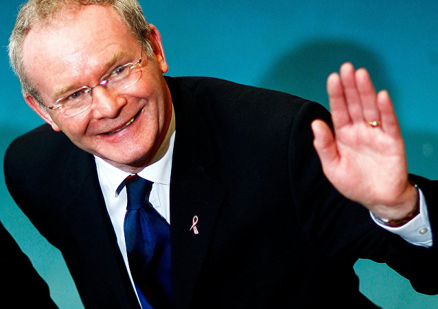 Sinn Fein chief negotiator Martin McGuinness visits the count centre in Ballymena, northern Ireland, March 8, 2007.