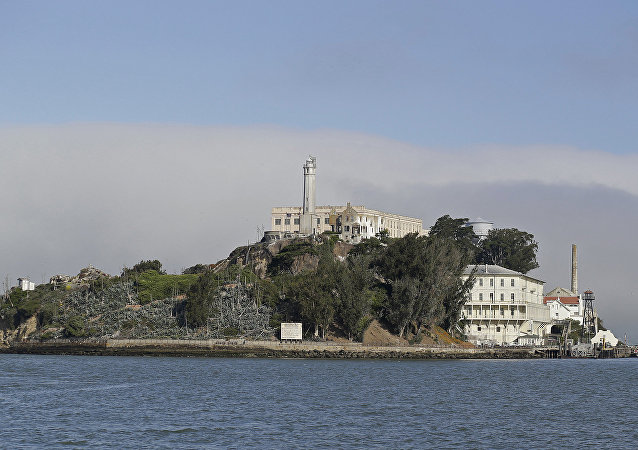 Fog lingers behind Alcatraz Island in San Francisco. (File)