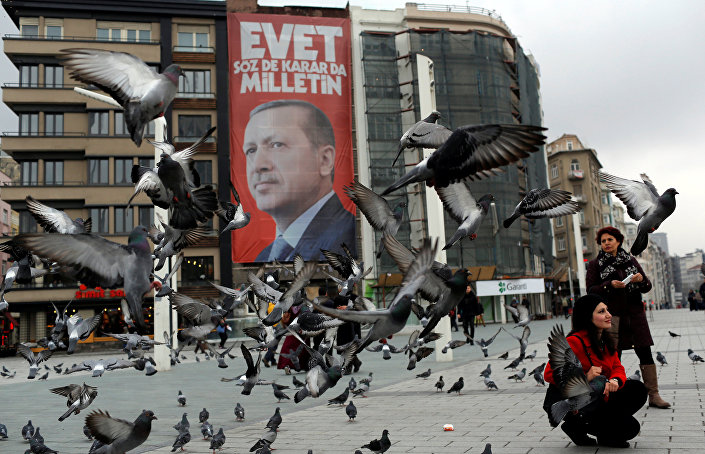 A campaign banner for the upcoming referendum with the picture of Turkish President Tayyip Erdogan is seen on Taksim square in central Istanbul, Turkey March 15, 2017.