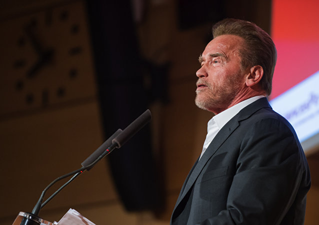 Former U.S. California Gov. Arnold Schwarzenegger delivers a speech at the Institute of Political Studies in Paris, France