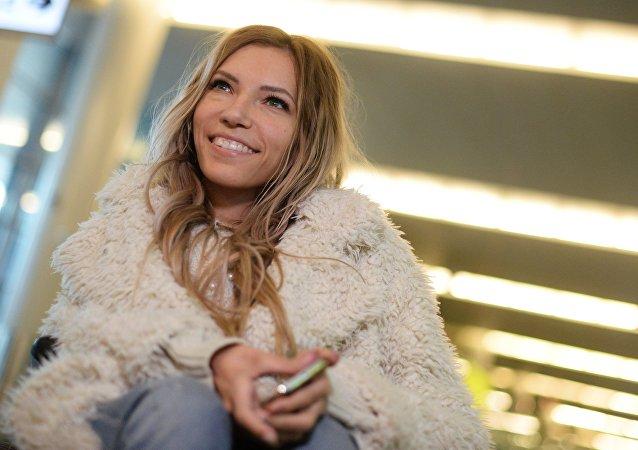 Singer Yulia Samoilova, Russia's representative at Eurovision 2017, at Sheremetyevo International Airport