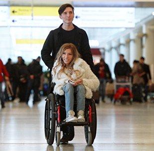 Singer Yulia Samoilova, Russia's Eurovision 2017 contestant, and her husband, Alexei Taran, at Sheremetyevo Airport
