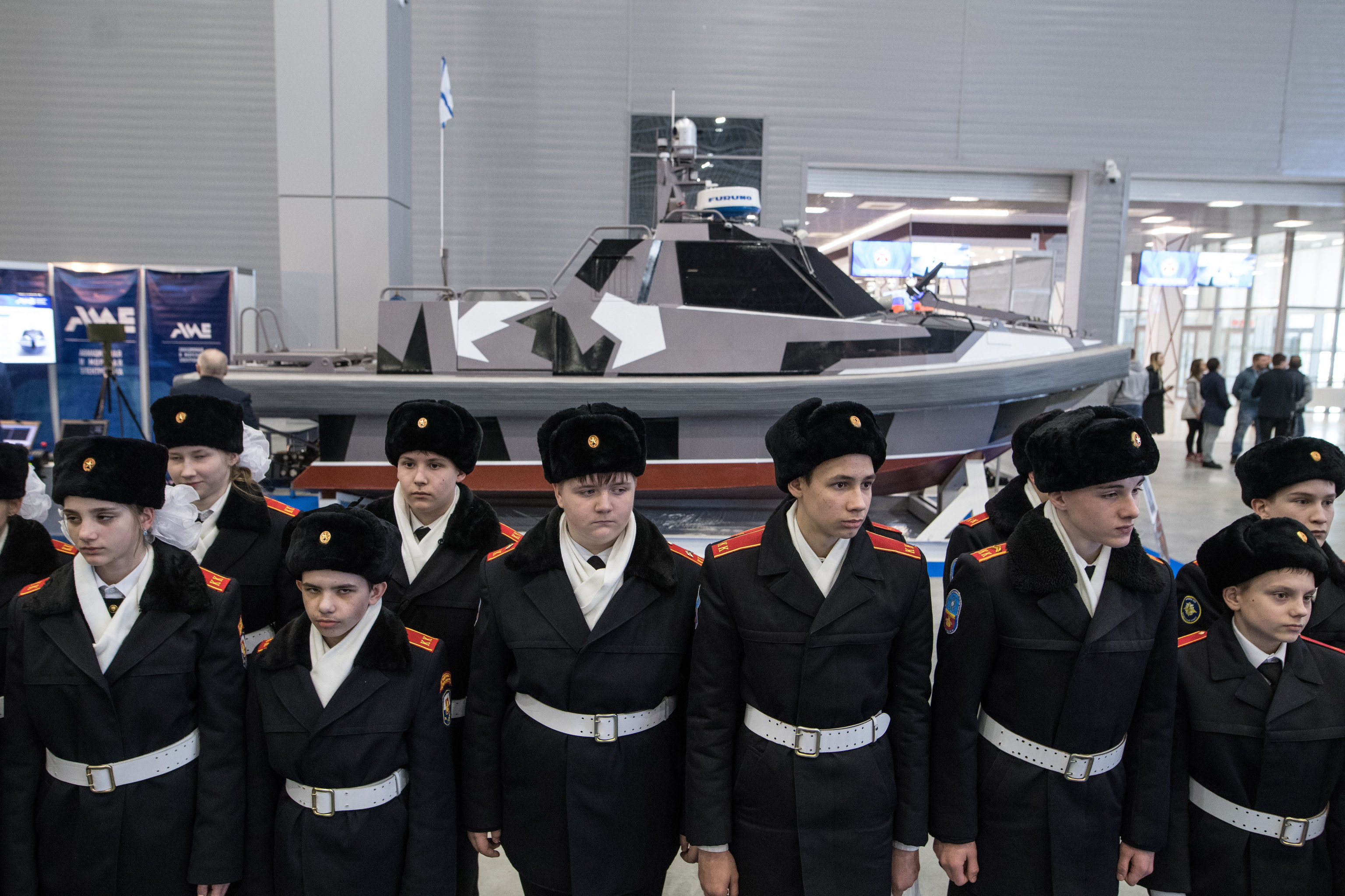 An unmanned boat on display at the Robotization of the Russian Armed Forces conference. File photo
