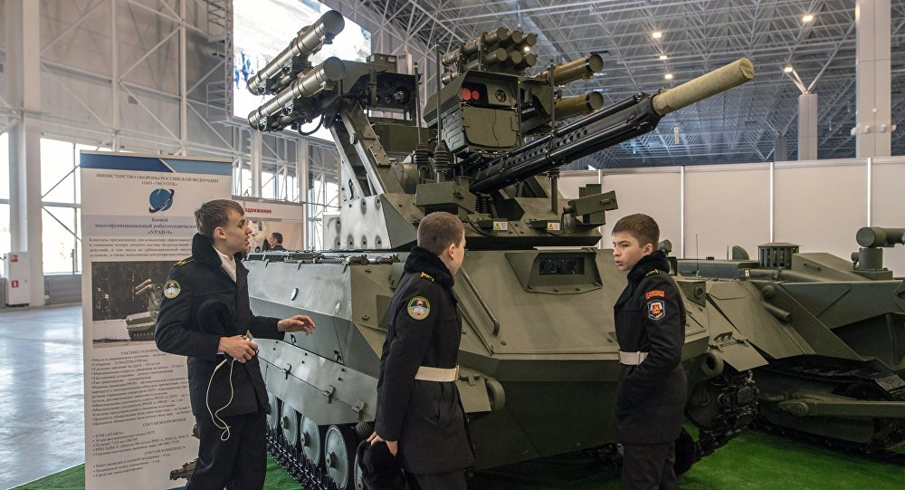 Uran 9 fighting multi-purpose robotics complex at the exhibition during the Robotization of the Russian Armed Forces 2nd Military & Scientific Conference at Patriot Congress and Exhibition Center