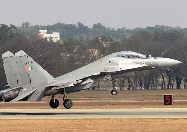 A Sukhoi Su-30MKI combat aircraft of the Indian Air Force takes off during an aerial display at Yelahanka Air Force Station on the inaugural day of the 11th edition of 'Aero India', a biennial air show and aviation exhibition, in Bangalore on February 14, 2017