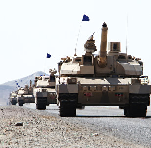 French-made Leclerc tanks of the Saudi-led coalition are deployed in the coastal district of Dhubab on January 7, 2017, during a military operation against Shiite Huthi rebels and their allies