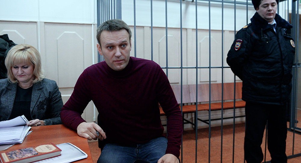 Opposition activist Alexei Navalny in the court.
