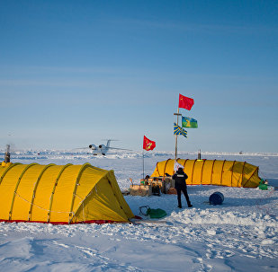 Barneo expedition drift ice camp in the Arctic.