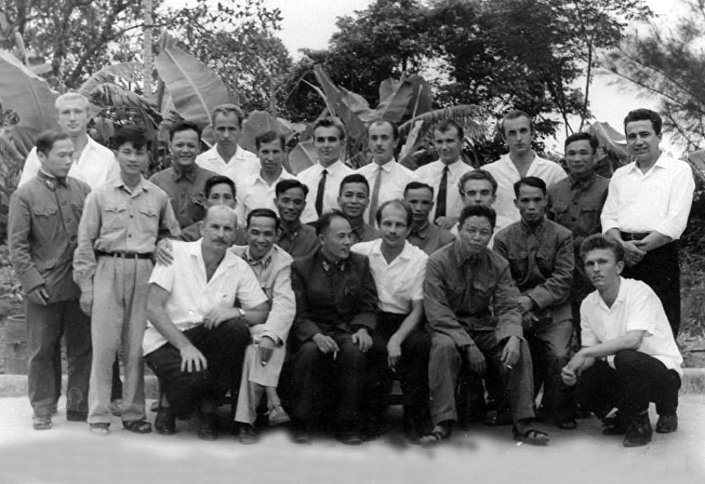 A group of Soviet military experts assigned to the 368th surface to air-missile regiment of the People's Army of Vietnam