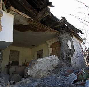 The house, damaged as a result of shelling, in the Kiev district of Donetsk
