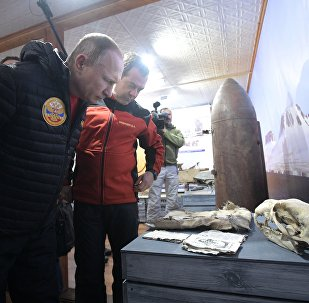 Russian President Vladimir Putin and Prime Minister Dmitry Medvedev visit the Russian Arctic National Park's Omega field station on Alexandra Land Island in the Franz Josef Land Archipelago