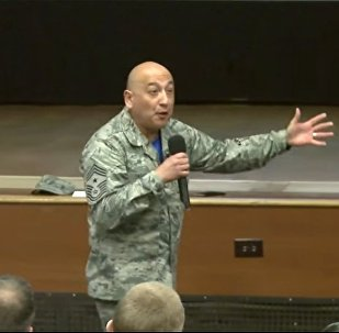 Master Sgt. Jose A. Barraza shares his life story before an audience of fellow airmen in 2016
