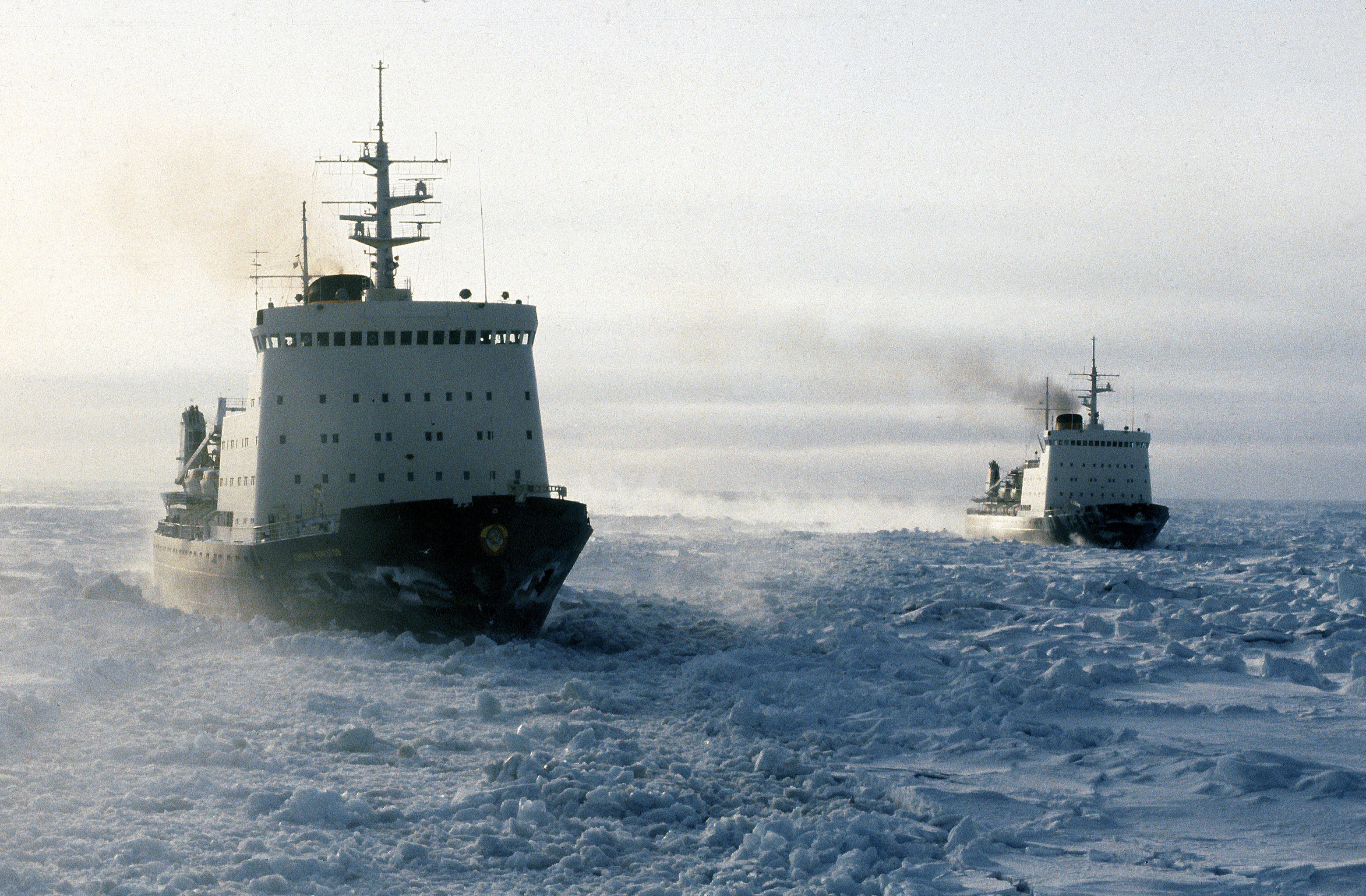Soviet ice-breakers in the Chukchee Sea, the Arctic Ocean