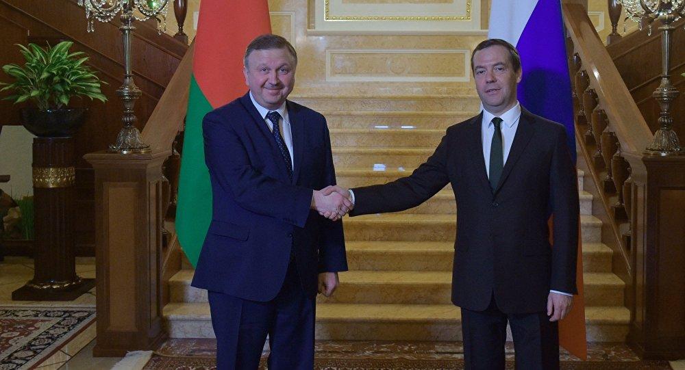 Prime Minister Dmitry Medvedev meets with Belarusian Prime Minister Andrei Kobyakov. File photo