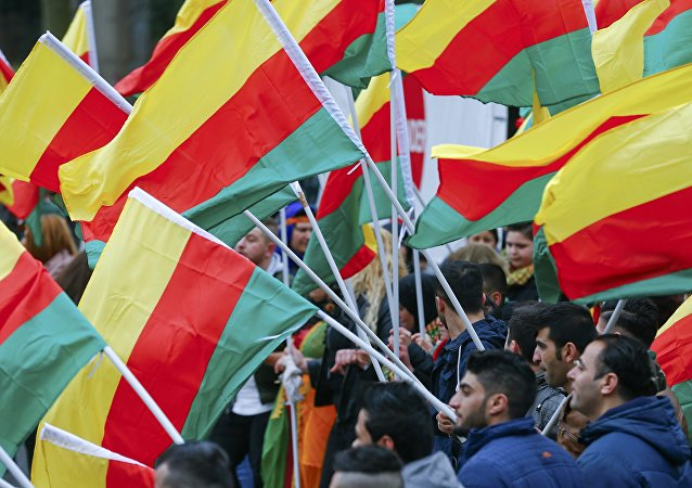 People carry flags during a demonstration organised by Kurds, in Frankfurt, Germany, March 18, 2017