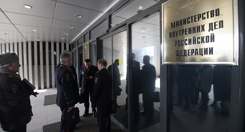 Entrance to the building of the Russian Interior Ministry. File photo