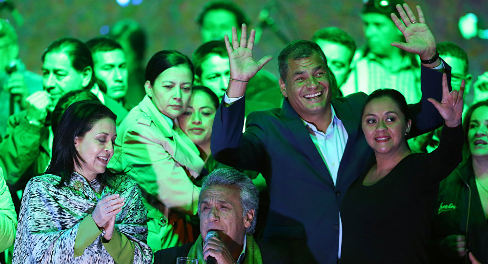 Ecuadorean presidential candidate Lenin Moreno (C) gives a speech alongside Ecuadorean President Rafael Correa (2nd R) and his wife Rocio Gonzalez (L) during a national election day in a hotel, in Quito, April 2, 2017