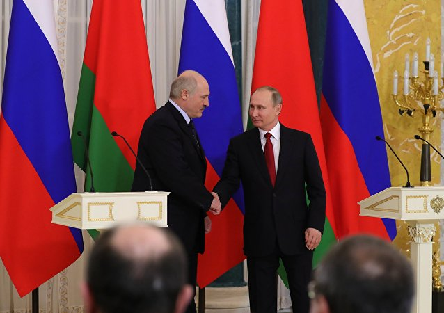 April 3, 2017. Russian President Vladimir Putin, right, and Belarusian President Alexander Lukashenko make a press statement