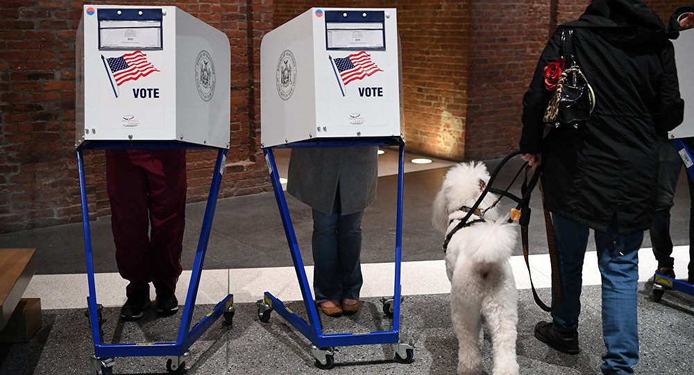 People vote at the Brooklyn Museum polling station in the Brooklyn borough of New York City on November 8, 2016