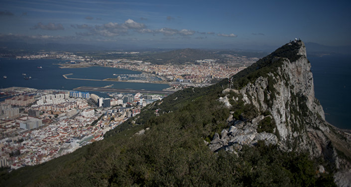 This file photo taken on March 17, 2016 shows the Rock of Gibraltar with Spain in background