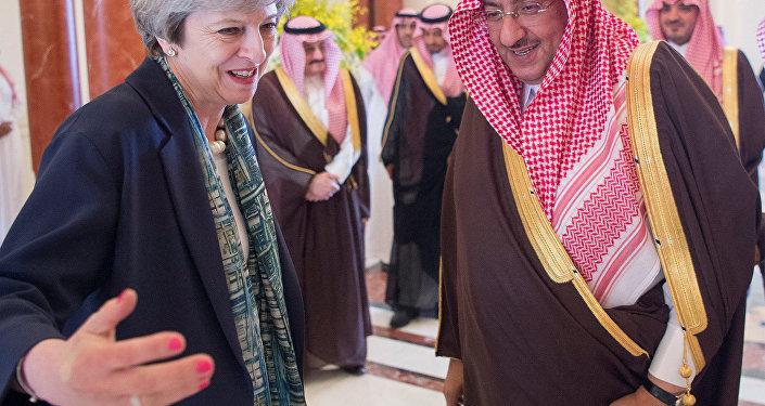 Saudi Arabian Crown Prince Muhammad bin Nayef welcomes British Prime Minister Theresa May in Riyadh, Saudi Arabia, April 4, 2017.