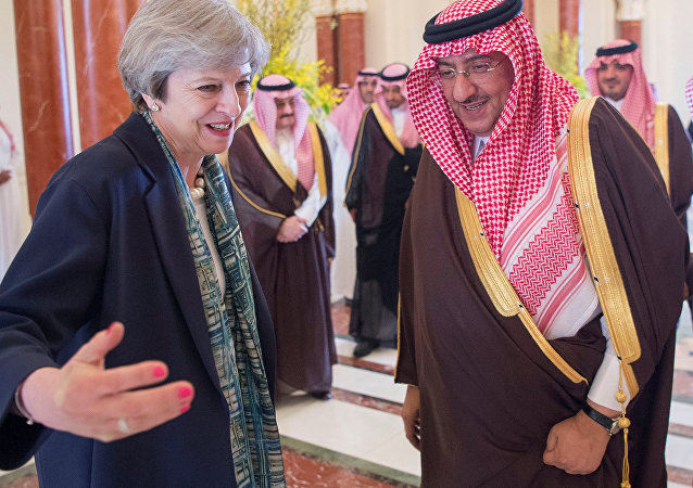 Saudi Arabian Crown Prince Muhammad bin Nayef welcomes British Prime Minister Theresa May in Riyadh, Saudi Arabia, April 4, 2017.