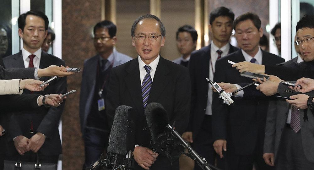 Japanese Ambassador to South Korea Yasumasa Nagamine speaks to the media upon his arrival at Gimpo International Airport in Seoul, South Korea, Tuesday, April 4, 2017
