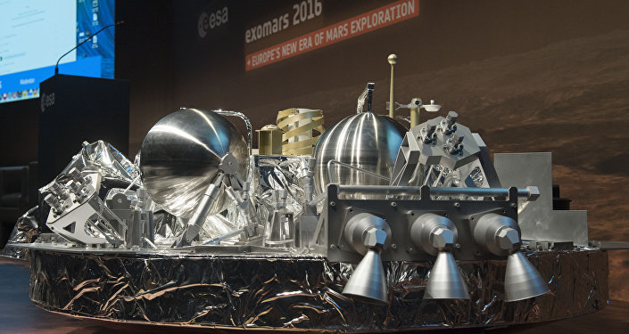 A model in scale 1:3 of the landing unit Schiaparelli of the European-Russian ExoMars 2016 mission is seen at the ESA space operation center (ESOC) in Darmstadt, Germany