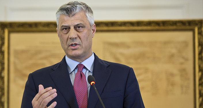 Kosovo President Hashim Thaci during a press conference in capital Pristina, Kosovo
