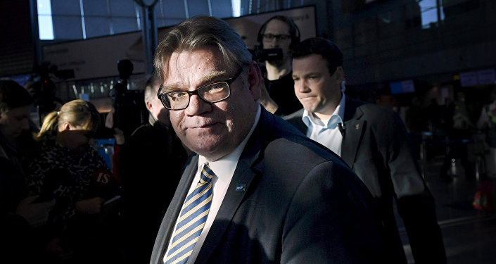 Finnish Foreign Minister Timo Soini, leader of Finland's populist Finns Party for two decades, gives a press conference at the Helsinki International airport in Vantaa, Finland, Sunday, March 5, 2017.