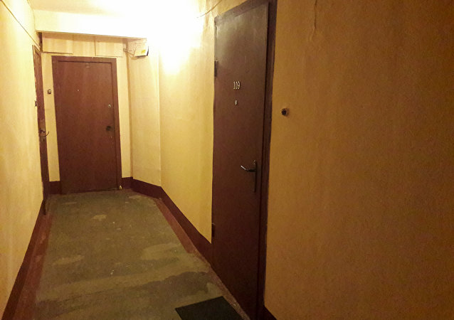 A view of a corridor with the door to apartment 109 rented by Akbarzhon Jalilov, the main suspect in a suicide bombing that took place on April 3, in St.Petersburg, Russia April 5, 2017.