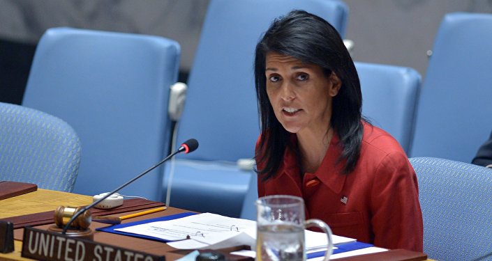 US Ambassador to the UN and UN security council president, Nikki Haley speaks during an United Nations Security Council meeting on Syria, at the UN headquarters in New York