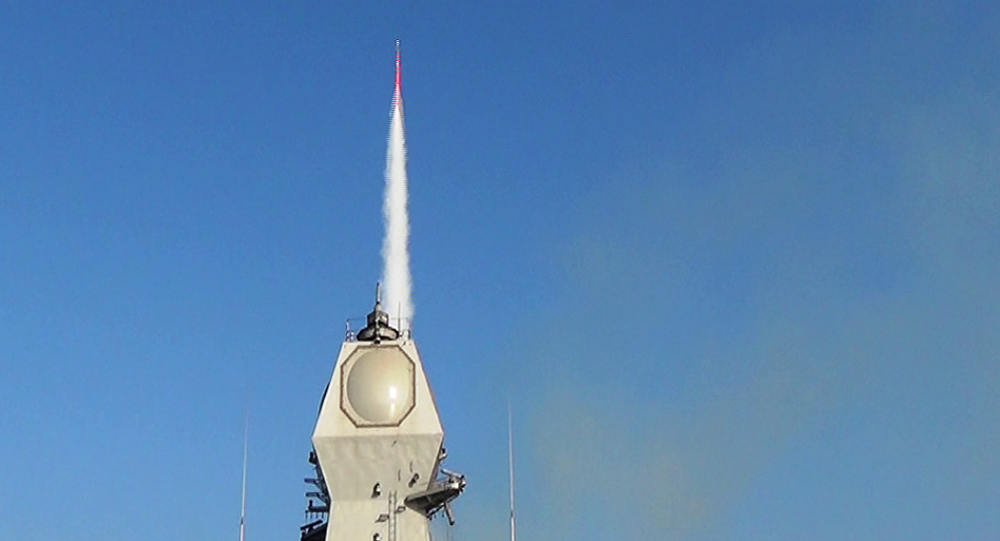 INS Kolkata firing a Barak 8 long-range Surface-to-Air Missile (SAM)