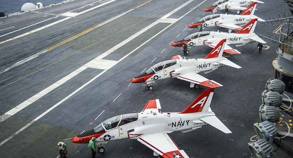 T-45C Goshawks from Training Air Wing One on the flight deck of the aircraft carrier USS George Washington