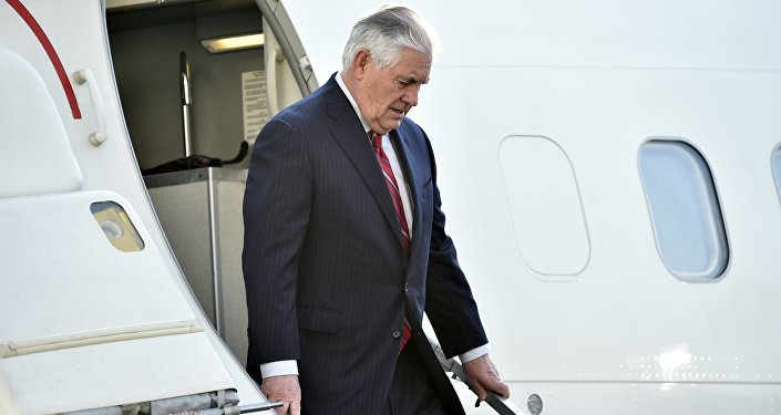 US Secretary of State Rex Tillerson gets off his plane upon his arrival in Mexico City on February 22, 2017