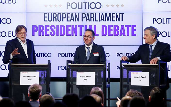 European Parliament's presidential candidates (L-R) Guy Verhofstadt, Gianni Pittella and Antonio Tajani attend a debate organized by the political news organization POLITICO in Brussels, Belgium January 11, 2017.
